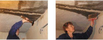 как заделать шов на потолке между плитами