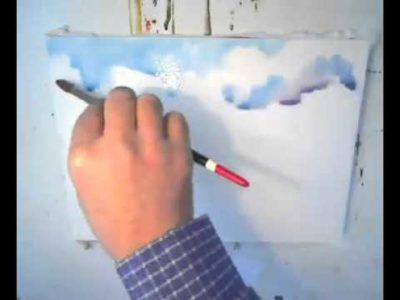 как нарисовать небо красками