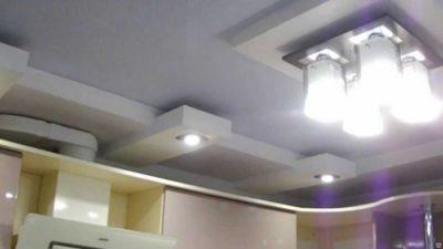 как сделать потолок на кухне из гипсокартона