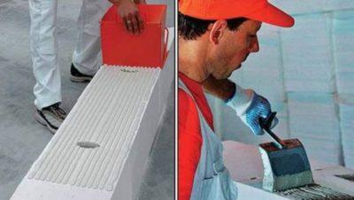 как класть пеноблок на клей