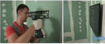 как повесить полку на бетонную стену